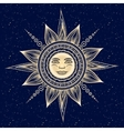 vintage hand drawn sun eclipse vector image
