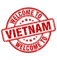 welcome to vietnam red round vintage stamp vector image vector image