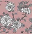 white chrysanthemum seamless floral pattern vector image