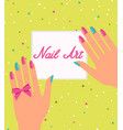 woman hand with colorful fingernails gift vector image vector image