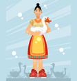 woman with a goose vector image