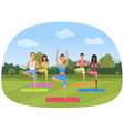 a group people standing in yoga position in vector image vector image