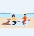 a young happy couple man woman and their dog vector image vector image