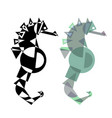 abstract geometrical style sea horse vector image