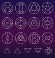 Alchemy symbols collection set line vector image