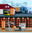 automated warehouse flat compositions vector image