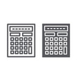 Calculator line and glyph icon mathematics and