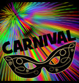 carnival background with black eye mask on rainbow vector image vector image