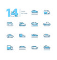 cars - set of line design style blue icons vector image vector image