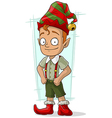 Cartoon redhead Christmas elf in