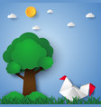 chicken in the garden paper art style vector image vector image