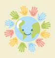 children world hands vector image vector image