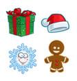 christmas icon set - gift santa hat snowflake vector image