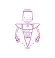 color line technology robot with machine robotic vector image