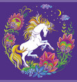 colorful night unicorn and flowers purple vector image vector image