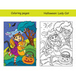 coloring with colored example halloween girl vector image