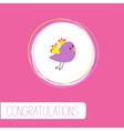 Congratulations card with cute violet bird vector image vector image