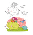 cute cartoon girl elephant monkey and hippo vector image