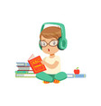 cute little boy character sitting on a floor in vector image vector image