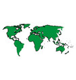 drawing green map world continent image vector image vector image