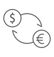 exchange thin line icon finance and banking vector image vector image