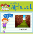 Flashcard letter N is for narrow vector image vector image