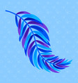 flat color abstract silhouette of a leaf on blue vector image
