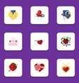 flat icon love set of patisserie key emotion and vector image vector image