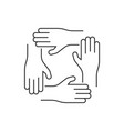 four hand line icon on white background vector image vector image