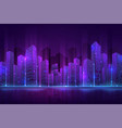 futuristic city building high neon cityscape vector image