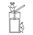 glass with juice mango fresh fruit kawaii vector image