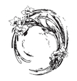 Hand drawing vintage circle wave with flowers vector image vector image