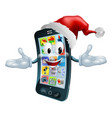 happy christmas cell phone vector image vector image