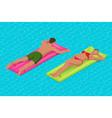 inflatable ring and mattress young man nad woman vector image vector image