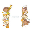 kid musicians and whiteboard vector image vector image