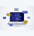 laptop web development programming coding icon vector image