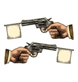 Male hand holding revolver with flag for text vector image vector image