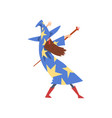 male sorcerer practicing wizardry with staff vector image vector image