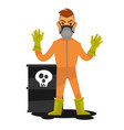 man in special overalls and mask stand beside vector image