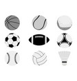 monochrome sports balls set vector image