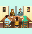 muslim family eating dinner at home vector image vector image