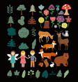 nature forest and kids collection vector image
