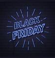 neon sign black friday big sale open on brick vector image