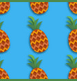 pineappple seamless pattern ananas in paper cut vector image vector image