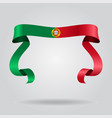 portuguese flag wavy ribbon background vector image vector image