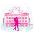 Romantic Valentine retro postcard with kissing vector image vector image
