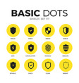 shield flat icons set vector image vector image