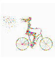 silhouette of a girl on a bicycle vector image vector image