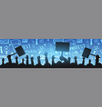 silhouettes crowd of people with flags banners vector image vector image