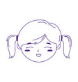 smiling little girl face cartoon character icon vector image vector image